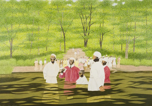 Carroll Cloar, American, 1913-1993The Baptizing of Charlie Mae, 1978Acrylic on MasonitePrivate Collection©Estate of Carroll Cloar