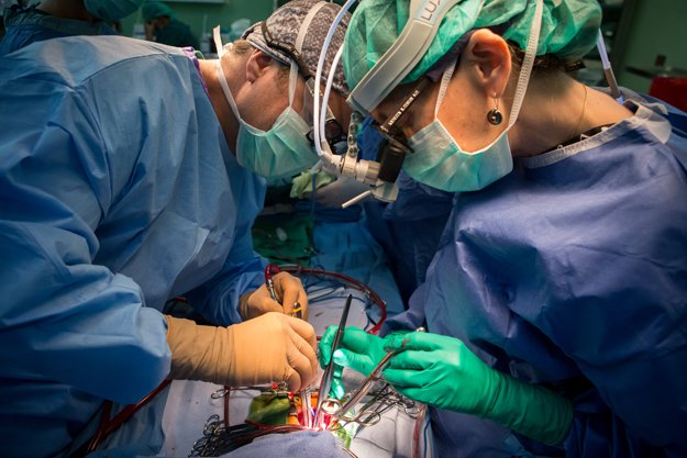 Dr. Kathleen Fenton and Dr. Rodrigo Soto perform a complete repair to a coronary sinus. The patient has a  congenital condition — total anomalous venous return — in which the pulmonary veins have no connection to the heart's left atrium.