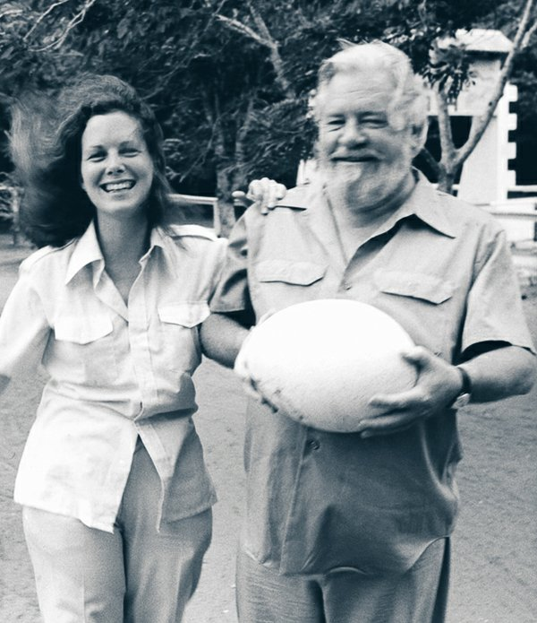 Gerry and Lee in Madagascar with Aepyornis egg, 1981.
