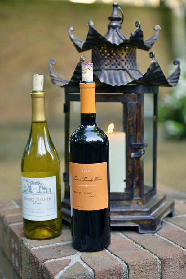 Two wine bottles and a pagoda-shaped lantern from San Francisco's legendary Gump's department store make a colorful tableau.
