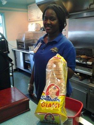 Rockabilly's Doushana Smith, above, explains the white bread foundation of the Elvis sandwich.