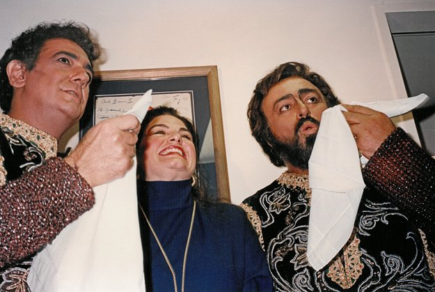 A thrillling moment for the young diva —  backstage at The Met, flanked by Placido Domingo (left) and Luciano Pavarotti, after an opening night performance in 1993.