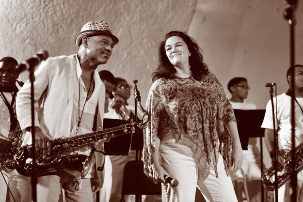 Esperian jams with Kirk Whalum and the Stax Music Acadamy kids at a concert at the Levitt Shell, June 30, 2013.