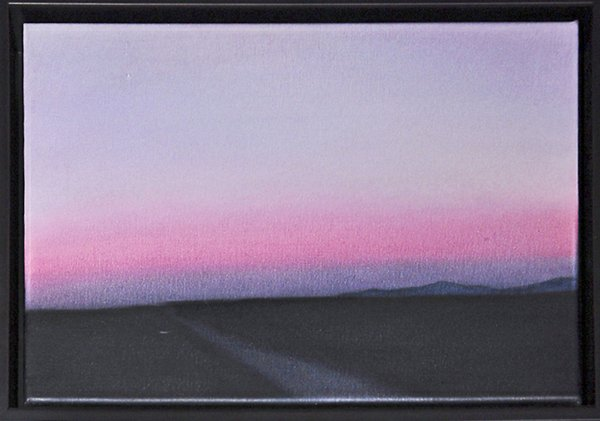 "the belt of venus Artist: veda reed Acrylic on canvas ""A symbolic landscape, the pink is representative of Kathy's red light (leadership, energy, vibrancy, and activism) disbursed."""