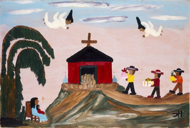 Clementine Hunter, Baby Jesus and Three Wise Men ca. 1960, Oil on boardCollection American Folk Art Museum, New York, Gift of Robert L. Marcus Family, 1999.21.1