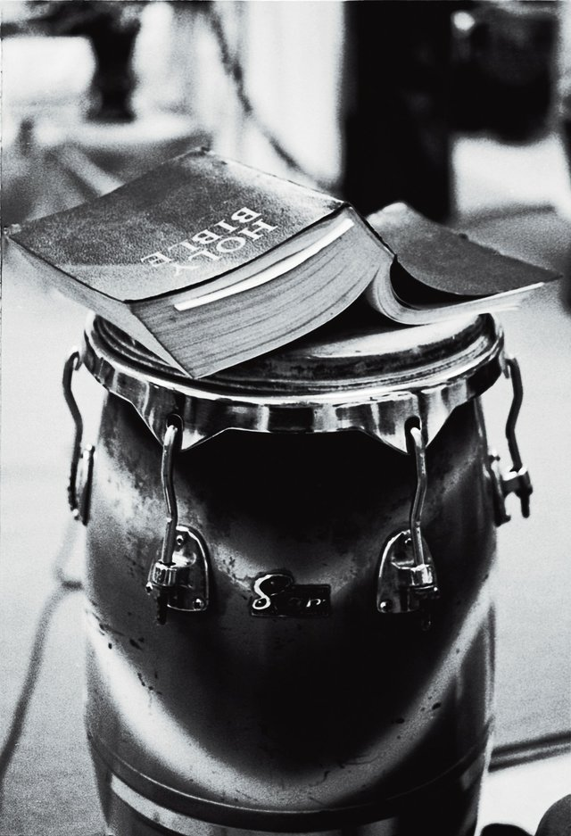 Chester Higgins Jr., Bible and Drum, 1989Digital silver gelatin printCollection of the artist