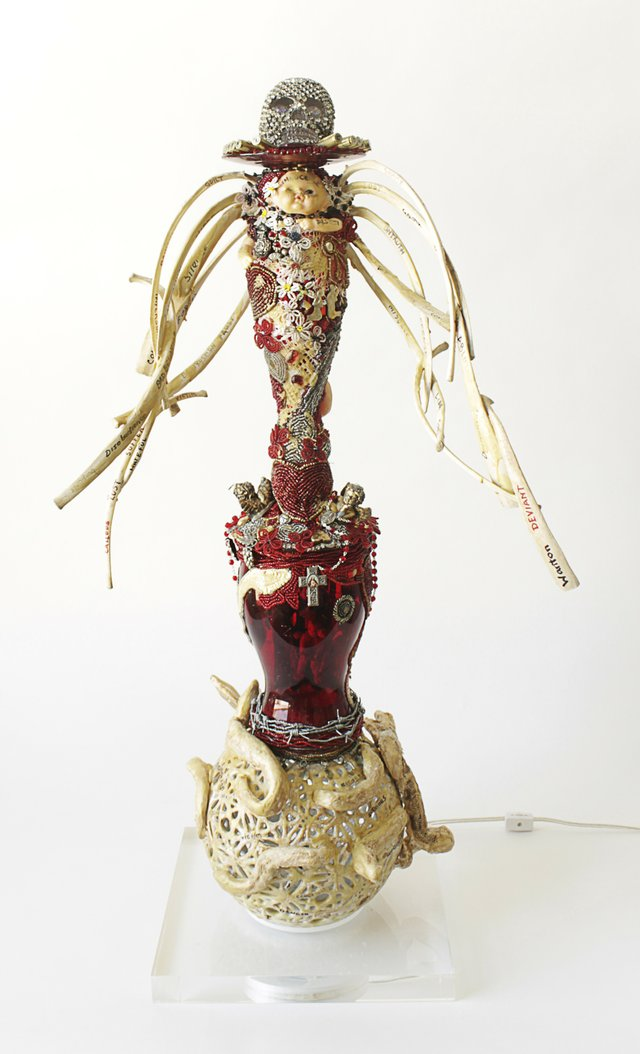 Oletha DeVane, Fall from Grace, 2013Glass, beads, casings, plexi, and fabricCollection of the artist