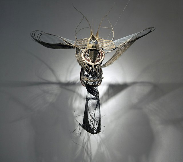Adejoke Tugbiyele, Flight to Revelation, 2011Palm stems, wire mesh, steel wire, trivets, and mannequin headCollection of the artist