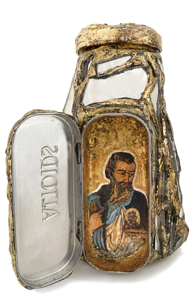 William Rhodes, St. Jude Bottle, 2010Re-purposed jar, Altoids box, nails, screws, paint, and gold leafCollection of the artist