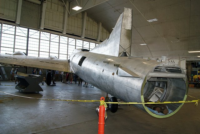 The entire plane was stripped down to the bare aluminum, revealing signatures scratched on the plane during its 1946 war bond tour.