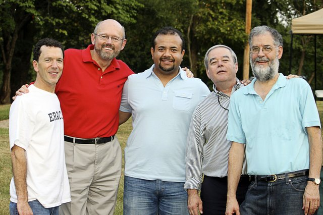 Rabbi Greenstein (far left) with Memphis-area ministerial colleagues (l-r) Rick Kirchoff,  Greg Diaz, Craig Strickland, and Steve Montgomery, at a Tear Down the Walls concert.