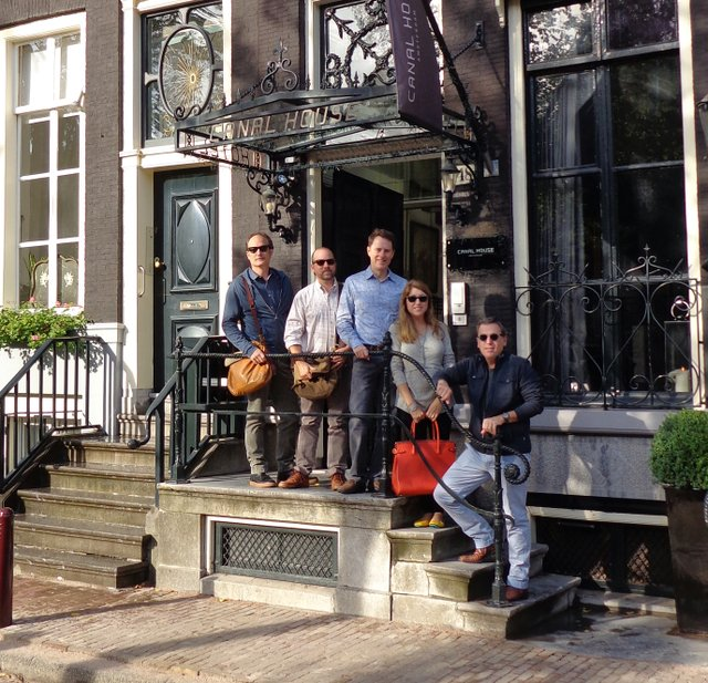 Greg Campbell, Erick New, Baker Gross, Suzanne New; and Greg Baudoin on the steps of Canal House hotel.