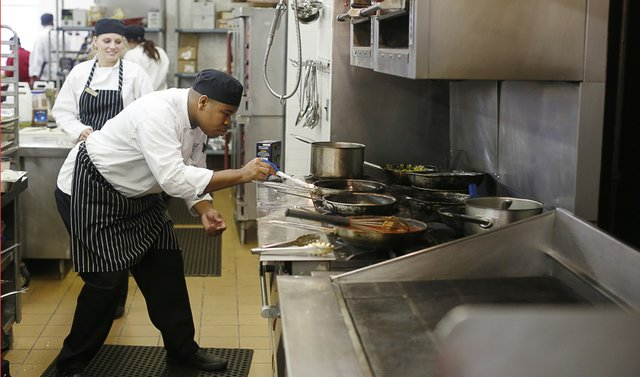 Experience in a real kitchen, like the one at The Peabody, gives students hands-on learning as they strive to be better managers.