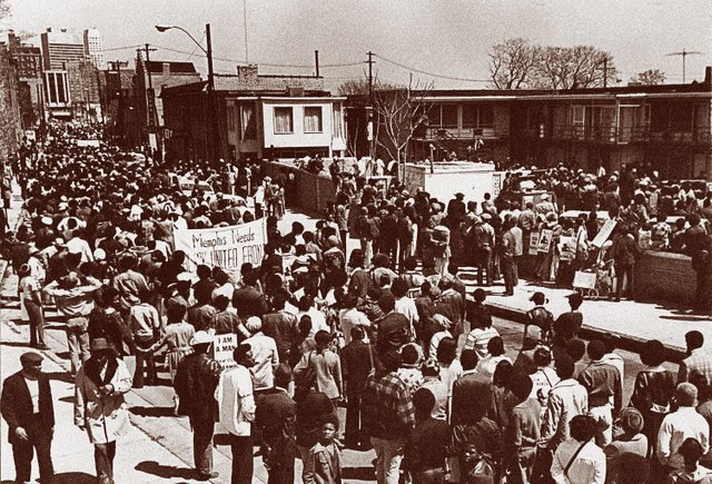 Supporters rally outside the Lorraine Motel shortly after King's death.