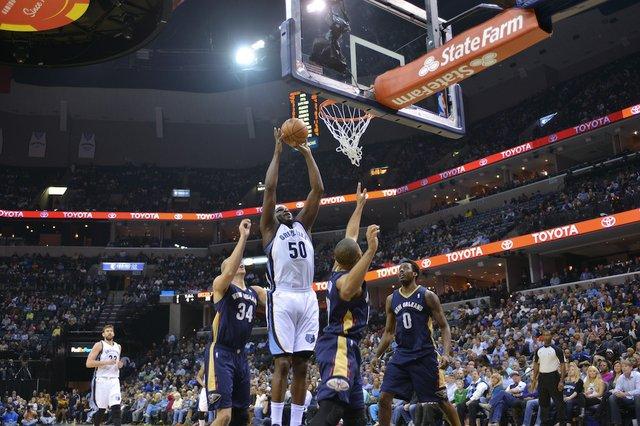 Z-Bo goes in for a slam dunk.