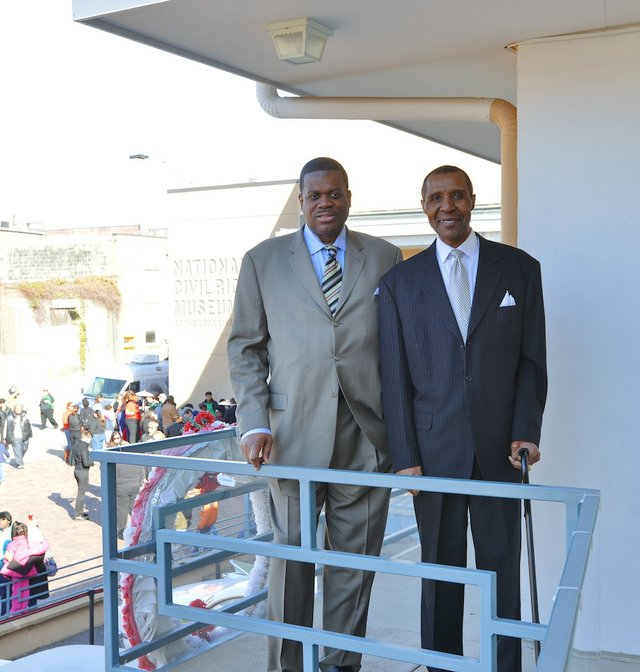 Bernard King and JoJo White on the Museum's balcony.