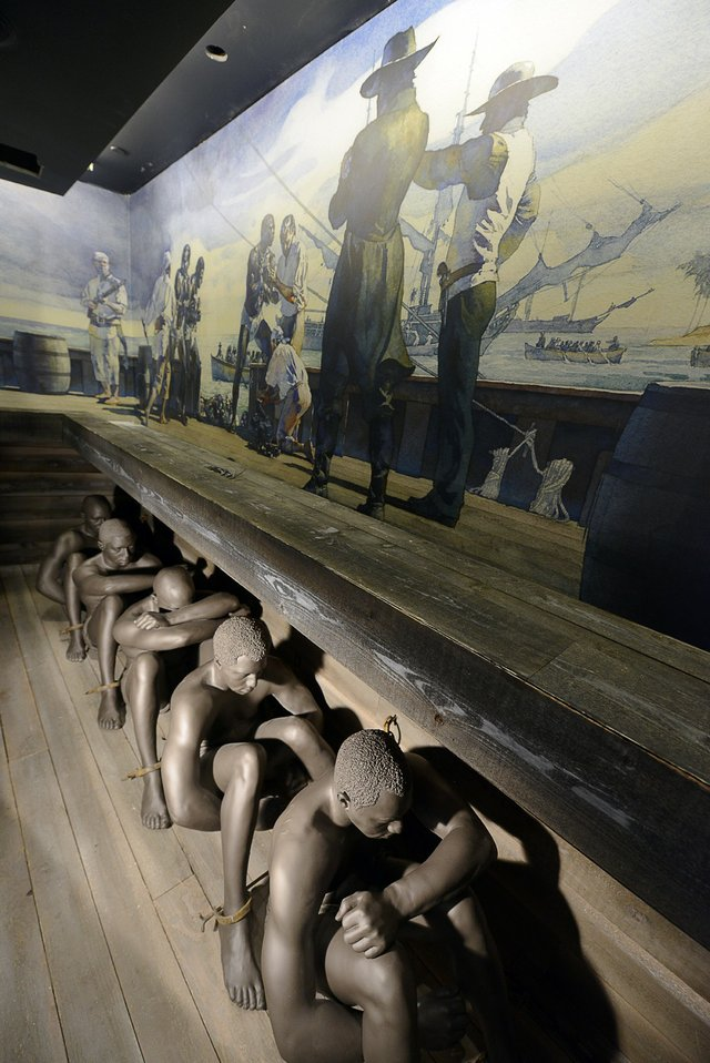 """Slavery and Culture of Resistance"" depicts the wretched conditions suffered by slaves as they crossed The Middle Passage. This new exhibit, which includes a floor map of the Atlantic Slave Trade, reveals how slavery helped fuel the global economy."