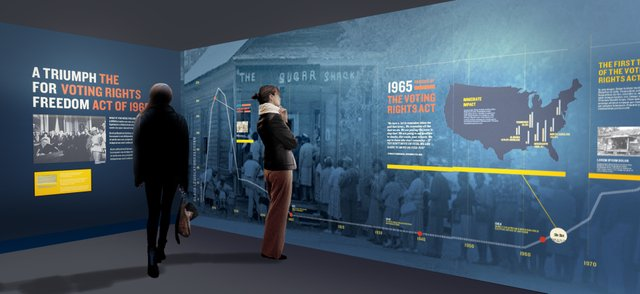 """The Voting Rights Act of 1965"" highlights that era's voter registration efforts and covers the 2008 election of  Barack Obama."