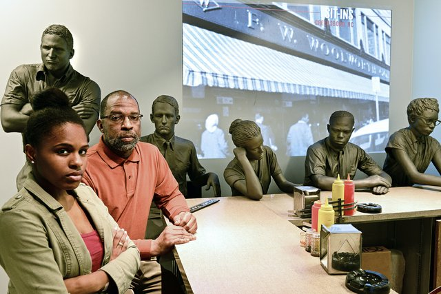 "It took courage for black people to sit at a lunch counter for ""whites only"" — but they did just that in an effort to desegregate public places. The ""Sit-In Lunchroom Counter"" tells the story, while other exhibits describe protests in other cities."