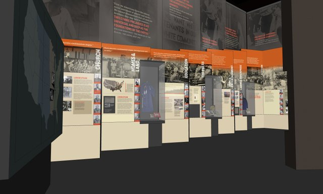 Following a surround-sound orientation film, the screen lifts and visitors study the impact of nineteenth-century Jim Crow laws.