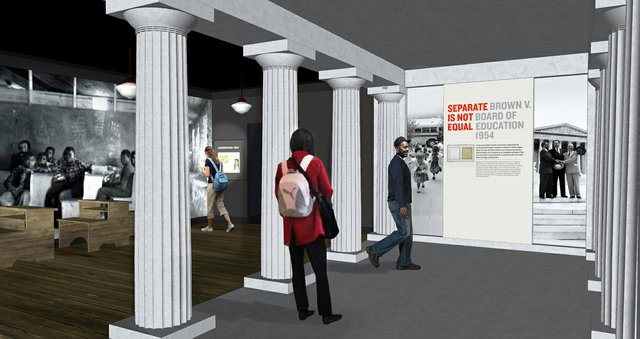 "The first successful challenge to school segregation is shown in ""Brown vs. Board of Education,"" 1954. Another display shows the nine black students who tried to enroll at Little Rock's Central High School in 1957."