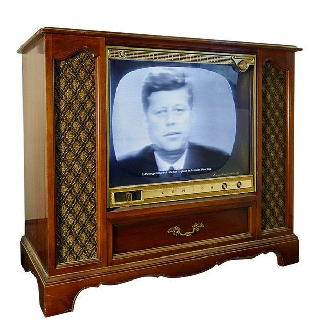 """The multi-media  """"Birmingham"""" exhibit features the jail cell (see p. 53) where King wrote his famous letter and a 1960s-era television airing the official response from President Kennedy."""