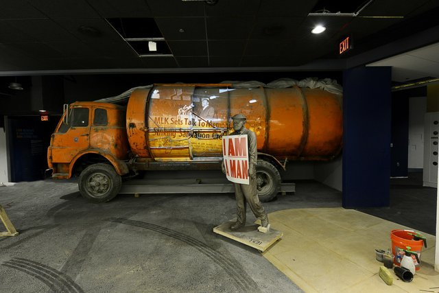 "Three times larger than the original exhibit, ""Memphis"" recalls the event that brought King to Memphis in 1968 — the sanitation workers' strike for a living wage."