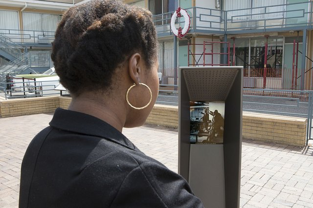 A listening post outside the NCRM replays the tragic events of April 4, 1968.