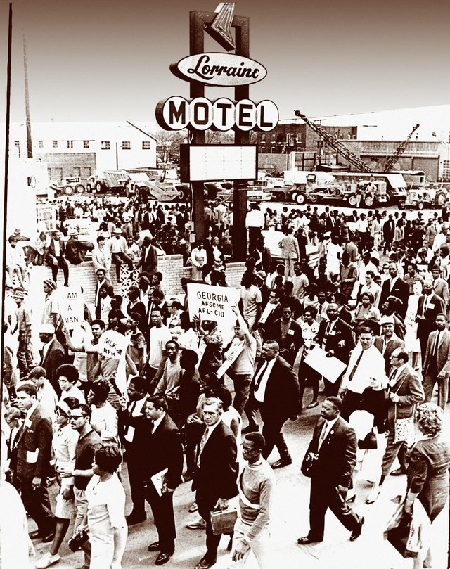 "A few weeks after King's death, thousands — some still carrying ""I Am a Man"" signs —  attended a rally in the parking lot of the Lorraine Motel."