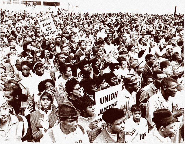 In the weeks and months following King's assassination, protest rallies and marches took place throughout Memphis, such as this one at City Hall.
