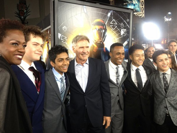 Suraj Partha (third from left) at the premier of Ender's Game