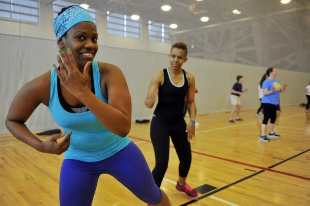 Members enjoy the multipurpose gym for everything from Zumba classes to pickup basketball games on the NBA-quality court.