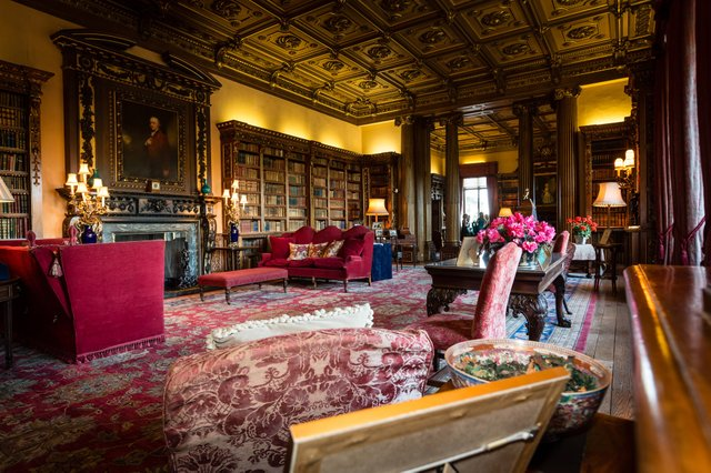 The expansive library, said to be Lady Carnarvon's favorite room, contains thousands of volumes dating back to the sixteenth century.