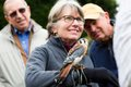 """Memphis' Kay Lait, bird-watcher extraordinaire, wears a proud expression of pure pleasure as she """"hosts"""" a Kestrel on her arm."""