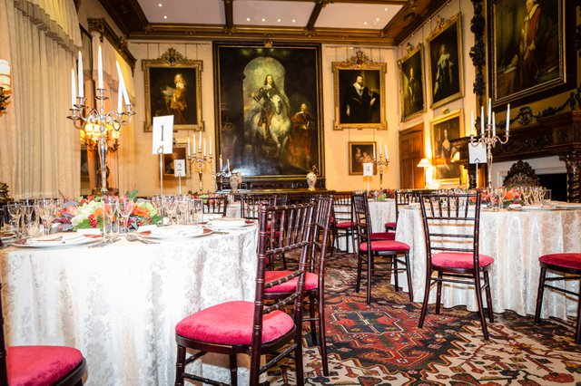 The celebratory black-tie anniversary dinner was served in the state dining room under the watchful eye of Anthony van Dyck's famous equestrian portrait of King Charles I.