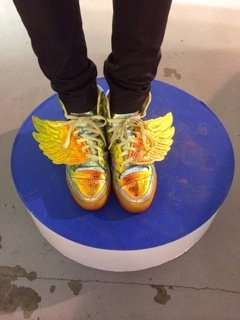 Awesome tricked out Jeremy Scott sneakers worn by blogger Sneakerhead Kay.