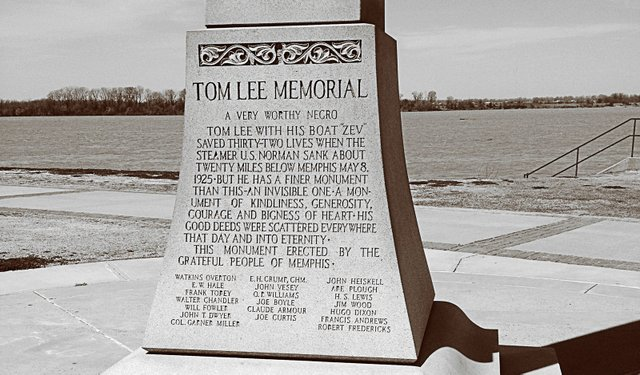 "The original granite monument to Tom Lee, erected in his eponymous riverside park in 1952, described Lee as ""A Very Worthy Negro."""