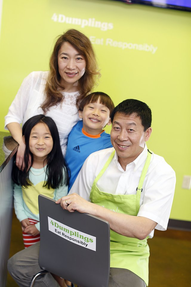 4Dumplings: Owners Gordon Wang and Yaliln Chang, with their children, promote delicious, healthy food.