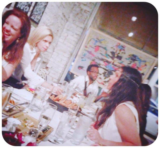 Enjoying dinner at Tsunami. Margaret Ledbetter, Mia Henley, Ziggy, Muffy Turley.