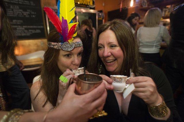 Margaret Ledbetter and Patti Trippeer enjoying themselves at Bar DKDC.