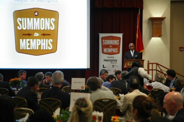 Mayor A C Wharton speaks