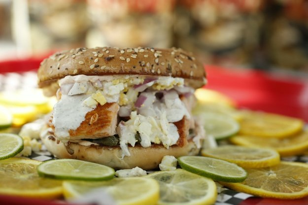 You'll need two hands to eat the smoked salmon, cream cheese, egg, and capers bagel at Elwood's Shack, located near Perkins and Summer Avenue.