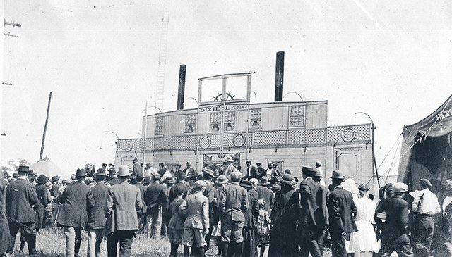 """A 1912 view of the """"Dixie-Land"""" show area at the Tri-State Fairgrounds."""