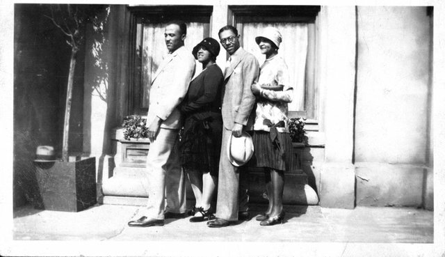 The Dixie Jubilee Singers helped promote the film in Hollywood. They are shown here outside the old Somerville Hotel. Among them is Memphian Georgia Rodgers Woodruff, second from the left.