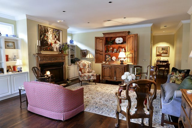 The living room's antique furniture and artwork were brought over from Cannon's previous homes.