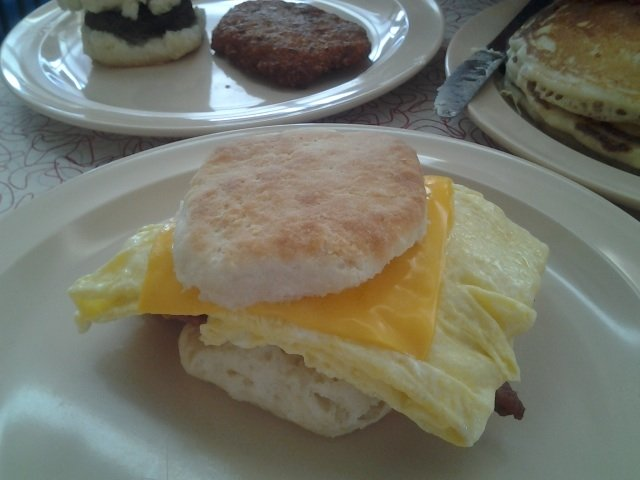 Why stop with a ham or sausage biscuit when you can add cheese and fried egg?