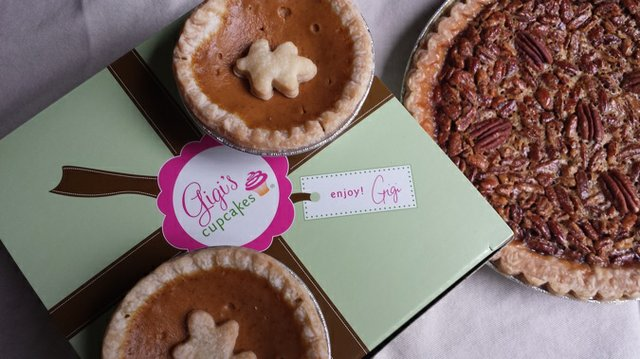 Gigi's Cupcakes rolls out 3-inch mini and standard 9-inch pies for the holidays. For Thanksgiving, order by Tuesday at noon.