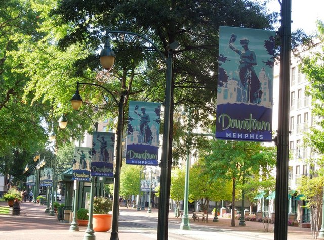 Current banners that hang along the Main Street Mall