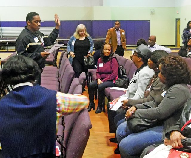 County Commissioner Eddie Jones presided over selection of delegates from District 85 at Shelby Democrats' pre-convention caucus two weeks ago.