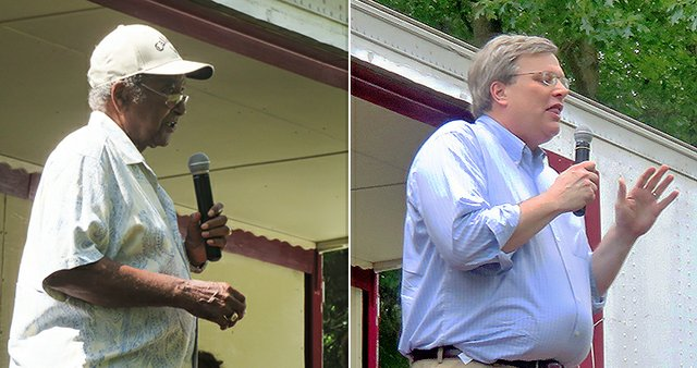 Sidney Chism and Jim Strickland at Sunday community picnic.